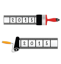 paint roller and brush with film for 2015 year vector image
