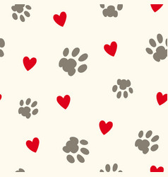 Paw prints and hearts repeat pattern vector