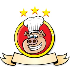 pig chef head vector image