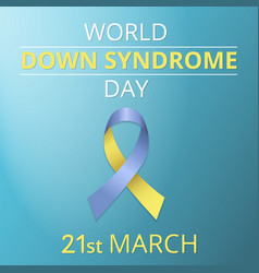 Realistic blue and yellow ribbon awareness down vector