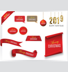 Realistic red paper banners set merry christmas vector