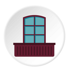 Retro window and flowerbox icon circle vector