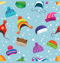 retro winter hats seamless pattern vector image