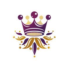 Royal crown heraldic design element retro style vector