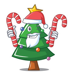 Santa with candy christmas tree character cartoon vector