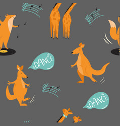 Seamless pattern with cheerful dancing animals vector