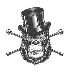 serious gorilla head in cylinder hat vector image
