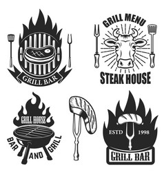 Set grill steak house emblems grilled meat vector