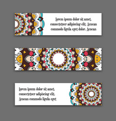 set horizontal banners with colorful vector image