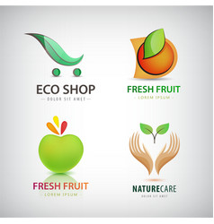 set of eco food organic green logos vector image vector image