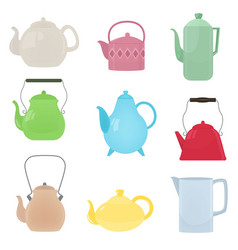 set of kitchen kettle of different shapes vector image