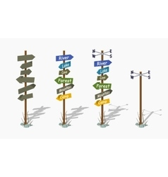 Set of the low poly navigation poles vector