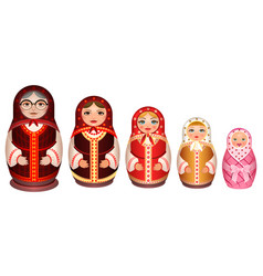 set russian wooden nesting doll traditional retro vector image