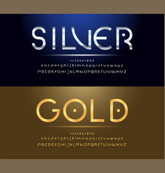 Silver and golden alphabet font vector