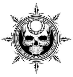 Skull shield hand drawingshirt designs biker disk vector