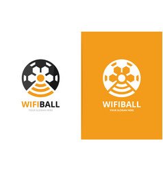 soccer and wifi logo combination ball and vector image