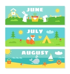 Summer Months Calendar Flashcards Set Nature vector image