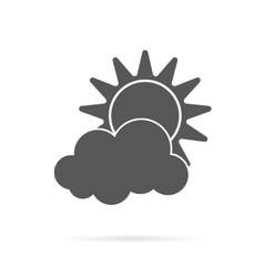 sun and cloud grey icon vector image