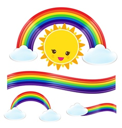 Sun rain bow cloud 002 vector image