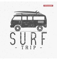Surf trip concept Summer surfing retro vector