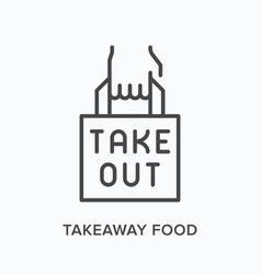 Takeaway food flat line icon outline vector