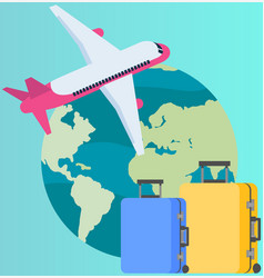 traveling around world on plane attributes vector image