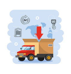 Truck transportation with box package distribution vector