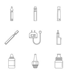 Vapor device icon set outline style vector