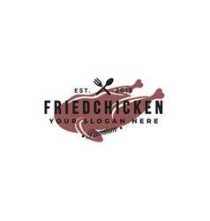 Vintage hipster retro emblem fried chicken logo vector