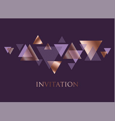Violet and rose gold abstract triangle dynamics vector