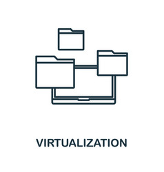 virtualization icon thin outline style design vector image
