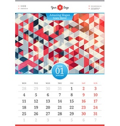 Wall calendar 2016 january template with abstract vector