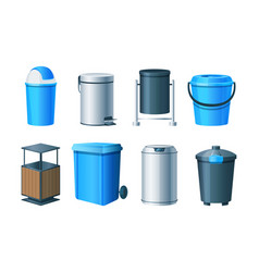 waste bins basket trash can and dustbin set metal vector image