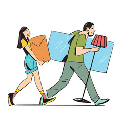 young couple carrying home furniture vector image
