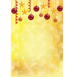 christmas gold background balls stars vector image vector image