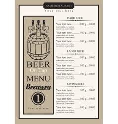 draft beer menu vector image vector image