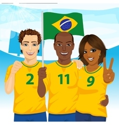 Group of brazilian supporters cheering vector image vector image