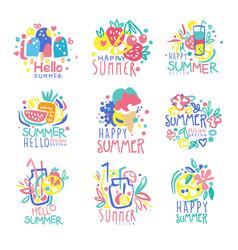 hello summer logo template original design set vector image