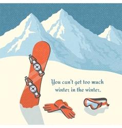 Snowboard winter mountain landscape vector