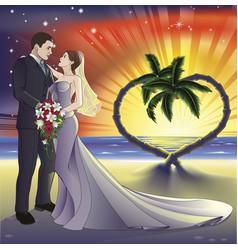 tropical beach wedding vector image