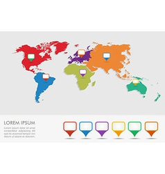 World map geo position pointers infographics EPS10 vector image vector image