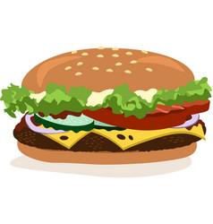 drawing of hamburger with cheese tomatoes vector image vector image