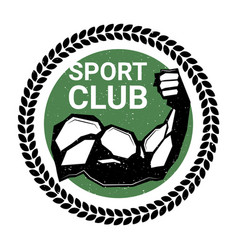 sport club logo with athletic male hand biceps vector image