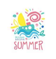 summer logo template original design colorful hand vector image