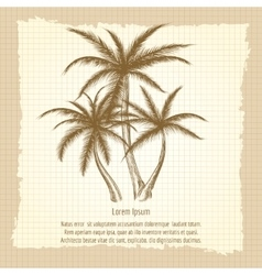 Vintage poster with palm tree vector image