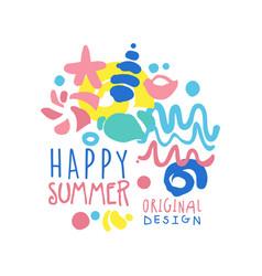 happy summer logo template original design vector image