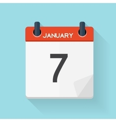 January 7 Calendar Flat Daily Icon vector image vector image