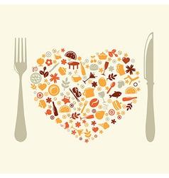 Restaurant Design In Form Of Heart vector image vector image