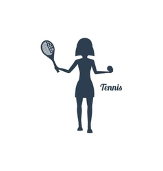 Woman with Racket and Tennis Ball Silhouettes Icon vector image