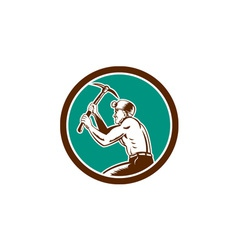 Coal Miner With Pick Axe Circle Retro vector image vector image